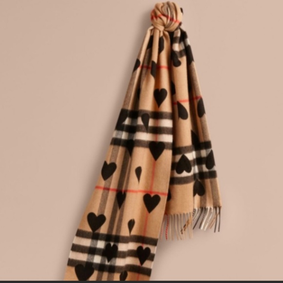 4862cdd26 Burberry Accessories | Cashmere Check Heart Scarf Auth New | Poshmark